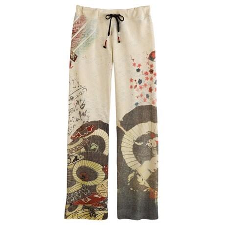 Asian Print Lounge Pants -Japanese Umbrellas (Cream)