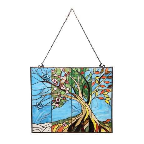 Four Seasons Stained Glass Hanging Panel