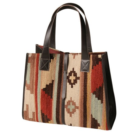 Leather-Trimmed Kilim Shopper