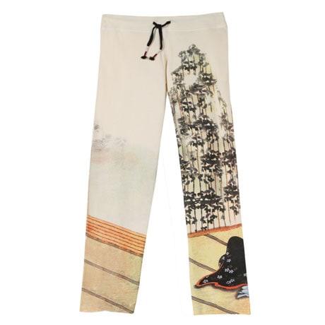 Asian Print Lounge Pants - Cream with Geisha