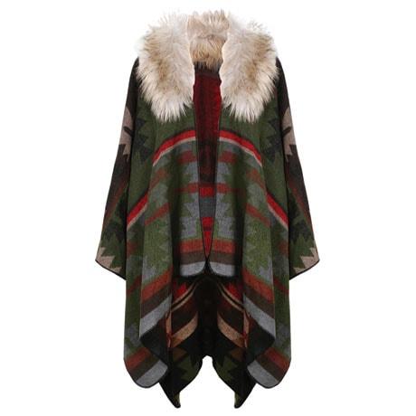 Faux Fur Hooded Cape