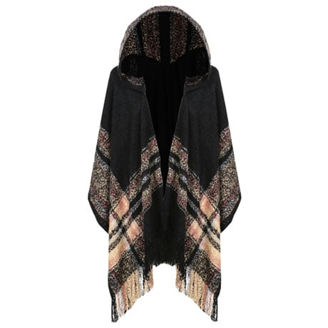Plaid Boucle Hooded Cape