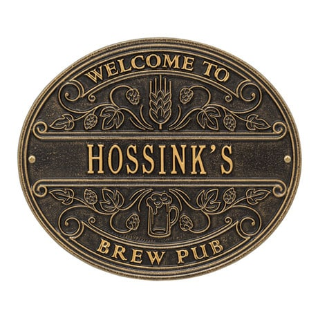 Personalized Brew Pub Welcome Plaque
