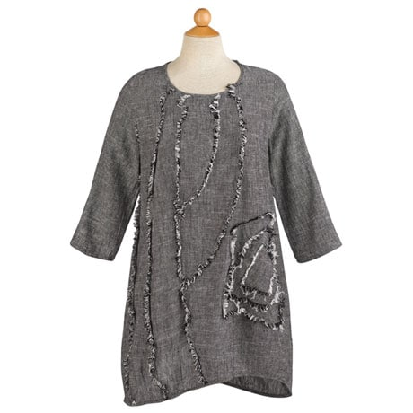 Salt-and-Pepper Linen Tunic