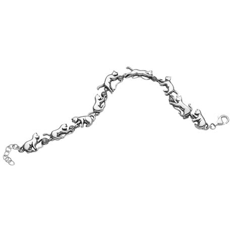 Cats At Play Sterling Silver Bracelet