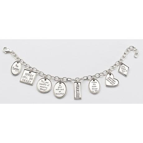 Positivity Charm Bracelet - Sterling Silver Inspirational Charms