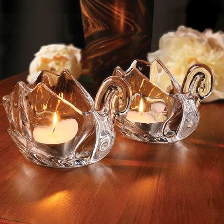 Crystal Swan Tea Light Holders