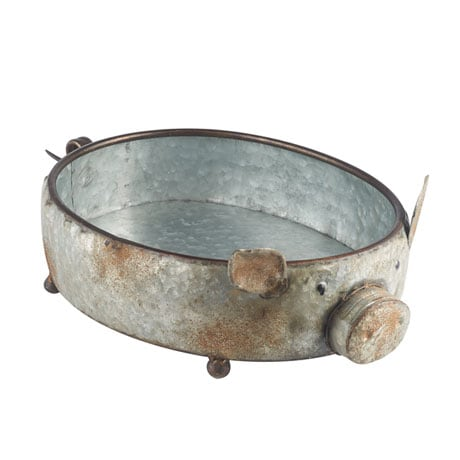 Galvanized Pig Bowl