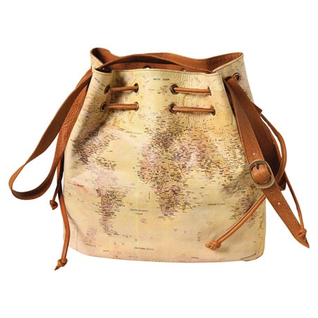 World Map Leather Handbag