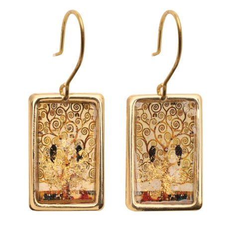 Gustav Klimt/Vincent Van Gogh Gold-Flecked Earrings