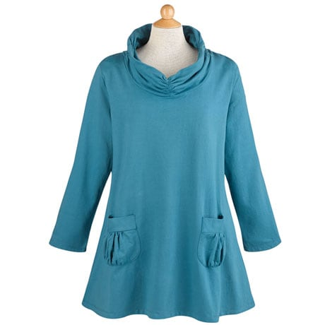Shirred Cowl Neck Tunic