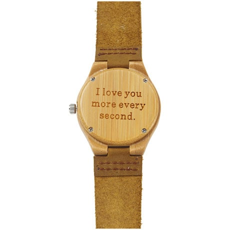 I Love You More Every Second Bamboo Watch