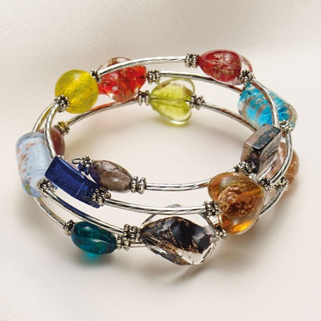 Glass Beads Wraparound Bracelet