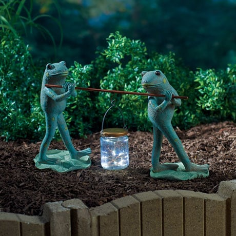Frogs and Firefly Lantern Solar Garden Sculpture