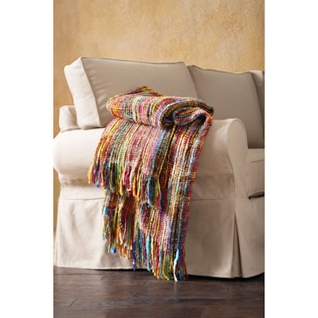 Multicolored Chunky Knit Throw Blanket