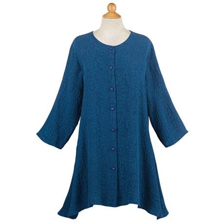 Textured Silk Button Tunic