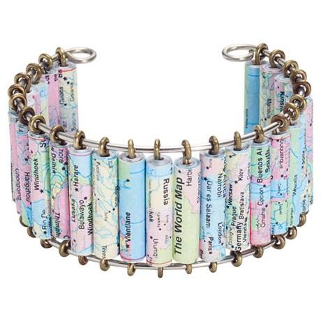 World Map Handmade Cuff Bracelet