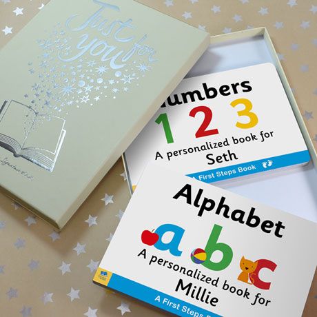 Personalized Learn Your Alphabet & Numbers Toddler Board Book Set