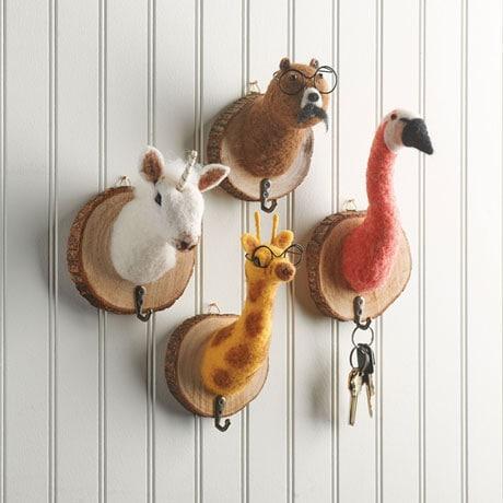 Felted Animal Head Wall Hooks (set of 4)