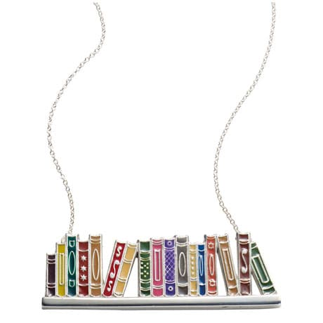 Enamel Bookshelf Necklace