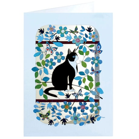Cut Paper Cat Greeting Card