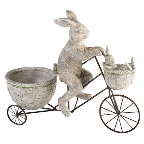 Cycling Rabbits Garden Sculpture