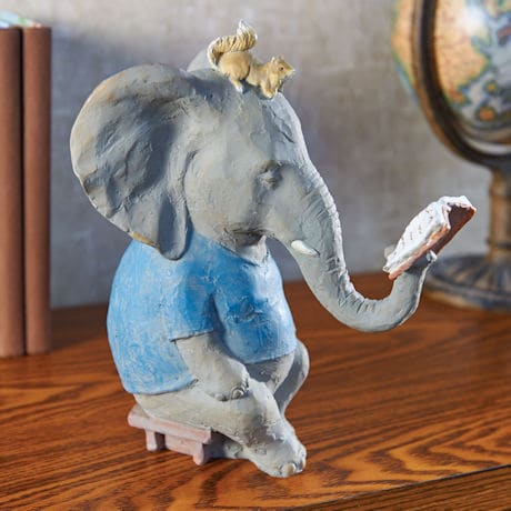 Reading Elephant Sculpture