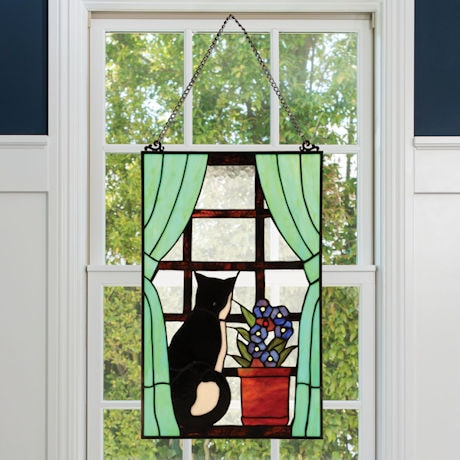 Cat in Window Stained Glass Panel