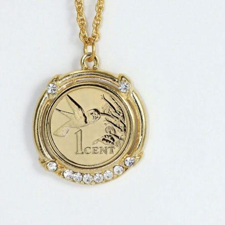 Gold -Layered Hummingbird Coin Pendant