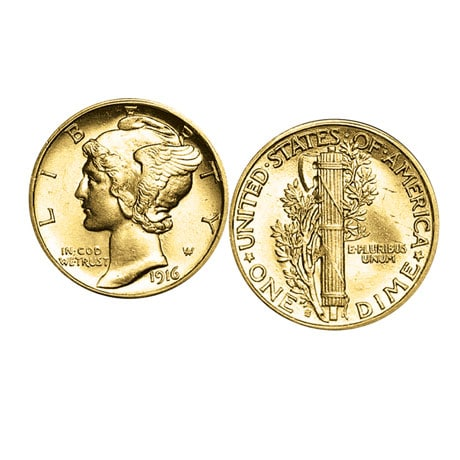 Gold-Layered Mercury Dime Cufflinks