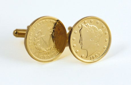 Gold-Layered Liberty Nickel Cufflinks