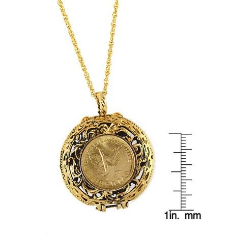 Mustard Seed Locket Angel Coin Pendant
