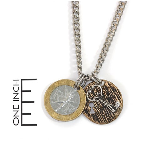 French Franc With Sterling Silver Lock And Key Men's Necklace