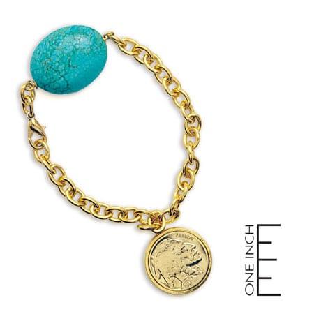 Gold-Layered Buffalo Nickel Bracelet With Turquoise Stone