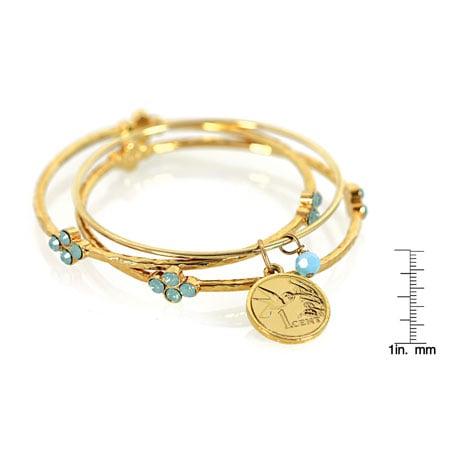 Hummingbird Coin Bangle Bracelet Set