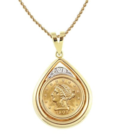 """$2.50 Liberty Gold Piece Quarter Eagle Coin In 14K Gold Teardrop Pendant W/Diamonds (18"""" - 14K Gold Rope Chain)"""