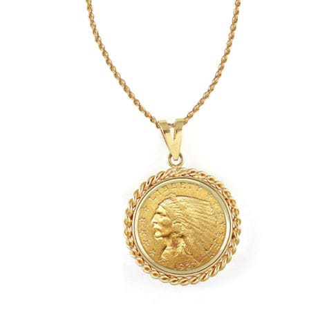 """$2.50 Indian Head Gold Piece Quarter Eagle Coin In 14K Gold Rope Bezel (18"""" - 14K Gold Rope Chain)"""