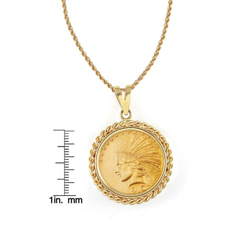 """$10 Indian Head Gold Piece Eagle Coin In 14K Gold Rope Bezel (18"""" - 14K Gold Rope Chain)"""