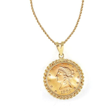 "$10 Liberty Gold Piece Eagle Coin In 14K Gold Rope Bezel (18"" - 14K Gold Rope Chain)"