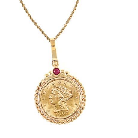 """$2.50 Liberty Gold Piece Quarter Eagle Coin In 14K Gold Twisted Rope Bezel W/Ruby (18"""" - 14K Gold Rope Chain)"""