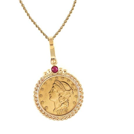 $20 Liberty Gold Piece Double Eagle Coin In 14K Gold Twisted Rope Bezel W/Ruby (18' - 14K Gold Rope Chain)