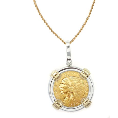 """$2.50 Indian Head Gold Piece Quarter Eagle Coin In Sterling Silver & 14K Gold Bezel (18"""" - 14K Gold Rope Chain)"""