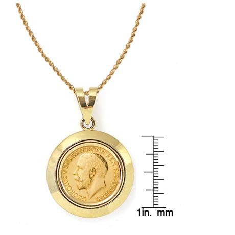 """King George V Gold Sovereign Coin In 14K Dome Shape Bezel (18"""" - 14K Gold Rope Chain)"""