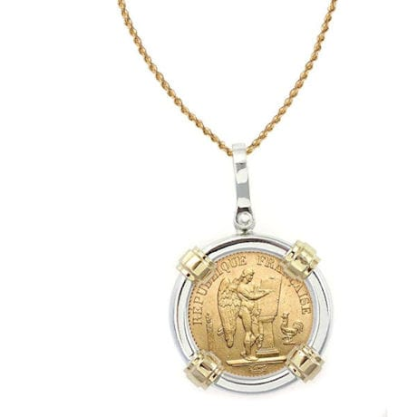 """French 20 Franc Lucky Angel Gold Piece Coin In Sterling Silver & 14K Gold Bezel (18"""" - 14K Gold Rope Chain)"""