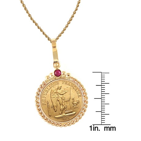 "French 20 Franc Lucky Angel Gold Piece Coin In 14K Gold Twisted Rope Bezel W/Ruby (18"" - 14K Gold Rope Chain)"