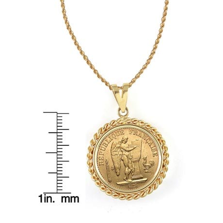 """French 20 Franc Lucky Angel Gold Piece Coin In 14K Gold Rope Bezel (18"""" - 14K Gold Rope Chain)"""