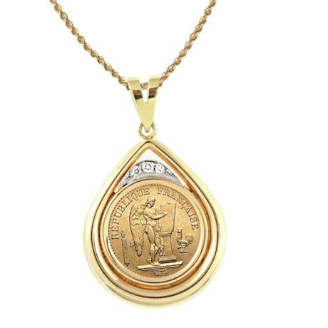 "French 20 Franc Lucky Angel Gold Piece Coin In 14K Gold Teardrop Pendant W/Diamonds (18"" - 14K Gold Rope Chain)"