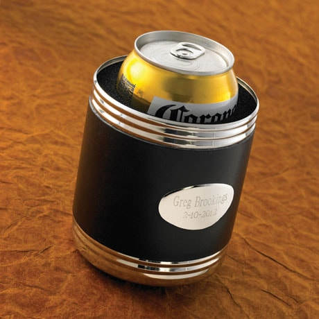 Personalized Black Leather Can Cooler