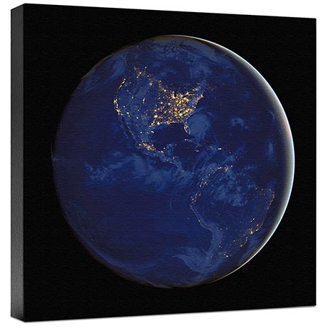 Americas At Night Wall Canvas