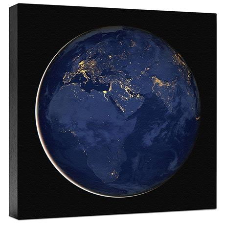 Europe and Africa At Night Wall Canvas